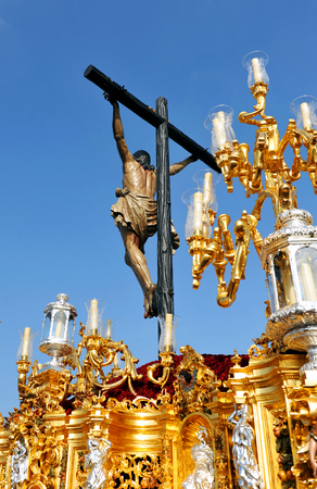 holy week in seville: Jesus Christ on the cross, Cachorro, Holy Week in Seville, brotherhood, Andalusia, Spain