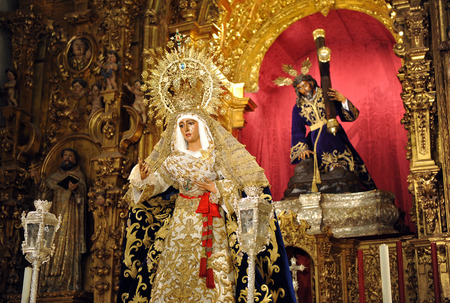 holy week in seville: Virgin Esperanza de Triana and Jesus Christ with the cross, Holy Week in Seville, Andalusia, Spain