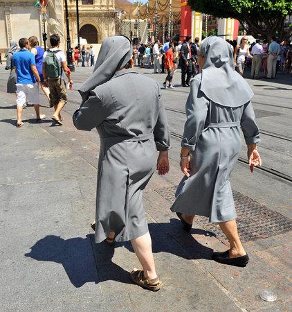 sevilla: Pair of nuns on the street, religious, Sevilla Editorial