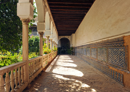 catholic nuns: Convent of Saint Agnes, gallery of the cloister, Seville, Andalusia, Spain Editorial