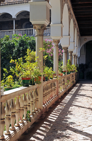 cloister: Convent of Saint Agnes, gallery of the cloister, Seville, Andalusia, Spain Editorial