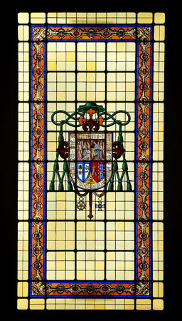 episcopal: Stained glass with shield, Episcopal palace, Ciudad Real, Castilla la Mancha, Spain