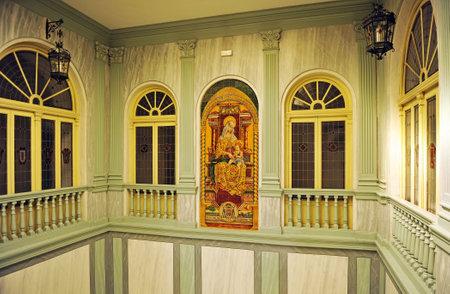 altarpiece: Episcopal palace, religious altarpiece tiles, Virgin Mary, Ciudad Real, Castilla la Mancha, Spain
