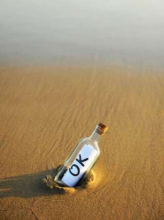 approbate: Bottle on the beach with an affirmative answer inside, ok
