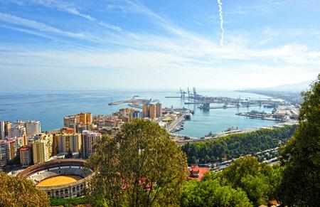 bullring: Panoramic view of Malaga and the Malagueta bullring, Andalusia, Spain Editorial