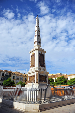 nineteenth: Obelisk in honor of General Torrijos, Spanish liberal politician of the nineteenth century, Mlaga, Spain Stock Photo