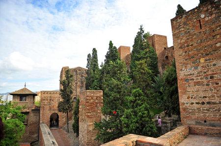 ramparts: Arabic fortress of Alcazaba, ramparts of Malaga, Andalusia, Spain