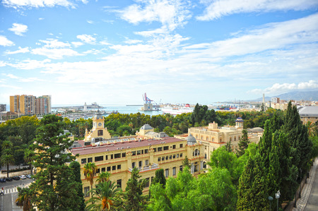 urbanism: Panoramic view of the port of Malaga with the city hall in foreground, Costa del Sol, Spain