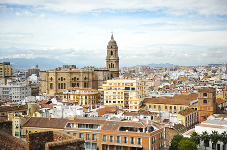 alcazaba: Panoramic view, cathedral of Malaga from the Alcazaba, Andalusia, Spain