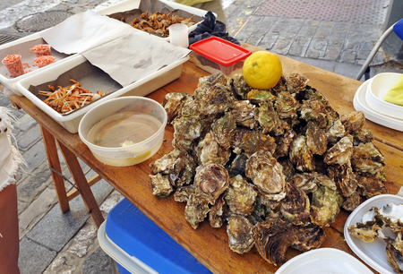 fish selling: Stalls selling fish and seafood, neighborhood of La Via, Cadiz, Andalusia, Spain