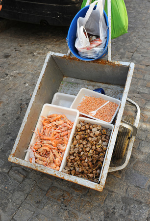 itinerant: street vending of seafood and fish in the streets of Cadiz, Spain