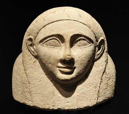 ladies bust: Female Phoenician sarcophagus, ancient art