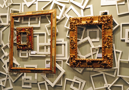 old photograph: Shop of ancient and modern frames for framing paintings and photographs Editorial