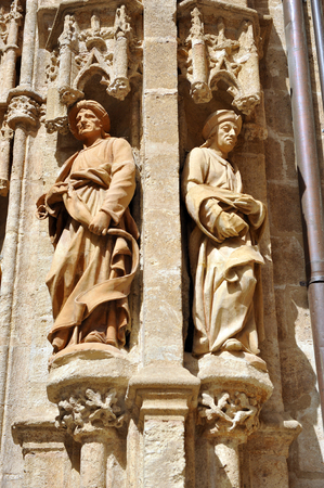 the prophets: Seville Cathedral, prophets at the door of Campanillas, Spain Stock Photo