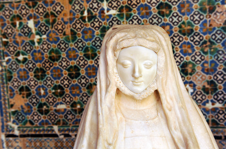 sevilla: Sculpture of a medieval lady, cloister of the Cartuja de Sevilla, Spain Stock Photo