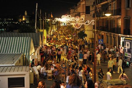 romantics: Night fair of Triana, called La Vela, Seville, Andalusia, Spain, Europe