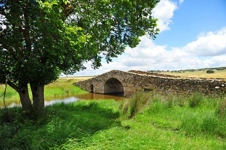 cano: Way of Santiago, a Roman bridge in Aldea del Cano, Via de la Plata, province of Caceres, Spain Stock Photo
