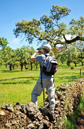 pilgrim journey: Hiker in the Sierra de Aracena Natural Park, Huelva province, Spain