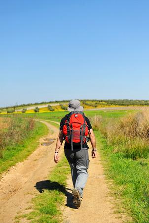 peregrino solitario, Camino de Santiago, España Foto de archivo
