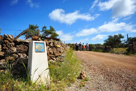 camino de santiago: Pilgrims on the Camino de Santiago, Aracena, province of Huelva, Via de la Plata, Spain