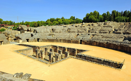 Roman Amphitheatre at the Roman city of Italica, Santiponce, Seville,  Spain