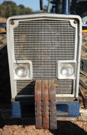 counterweight: Radiator and counterweight of an agricultural tractor Stock Photo