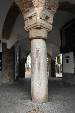 named: Column called measuring stick, Vara de medir, Small square named Plaza Chica of Zafra, Badajoz, Extremadura, Spain Stock Photo