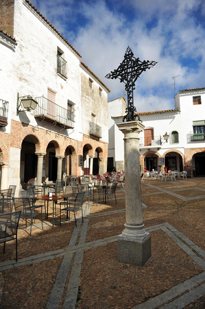badajoz: Small square named Plaza Chica of Zafra, Badajoz, Extremadura, Spain Editorial