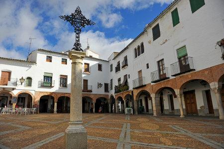 badajoz: Small square named Plaza Chica of Zafra, Badajoz, Extremadura, Spain Editorial