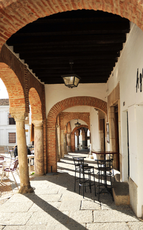 named: Arcades, Small square named Plaza Chica of Zafra, Badajoz, Extremadura, Spain