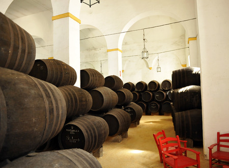 Inside of a wine cellar, Sanlucar de Barrameda, Cadiz province, Spain Editorial