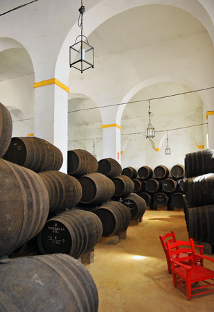 Inside of a wine cellar, Sanlucar de Barrameda, Cadiz, Spain