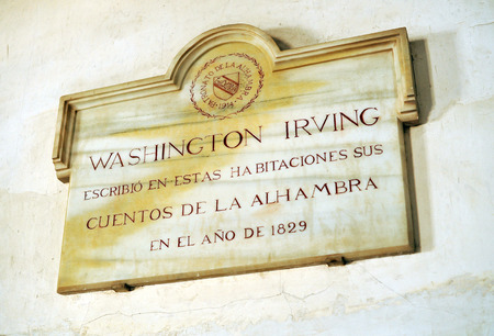 dedicated: marble plaque dedicated to the writer Washington Irving on the Alhambra in Granada, Spain