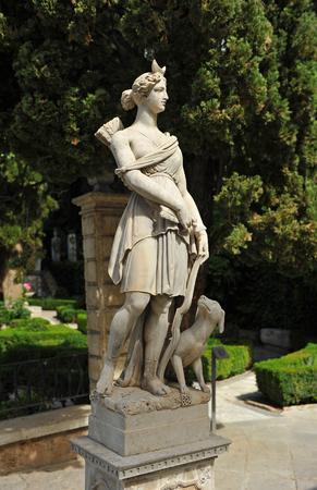 steelyard: Huntress Diana, Roman goddess, garden of Granada, Spain