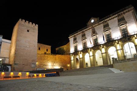 extremadura: Caceres at night, City Hall, Extremadura, Spain
