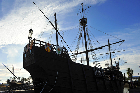discovering: Discovering America, the caravels of Christopher Columbus at sunset, Palos de la Frontera, Huelva province, Spain