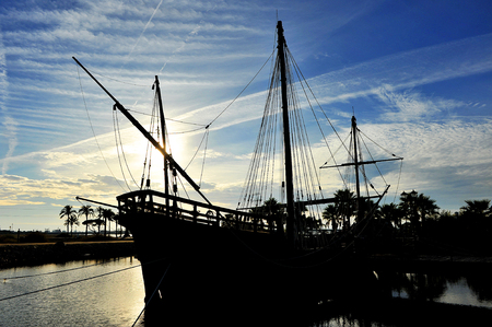 cristobal colon: Discovering America, the three caravels of Christopher Columbus at sunset, Palos de la Frontera, Huelva province, Spain
