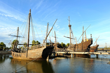 the three caravels of Christopher Columbus, Discovering America, Palos de la Frontera, Huelva province, Spain Stock Photo