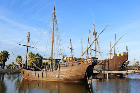 discovering: the three caravels of Christopher Columbus, Discovering America, Palos de la Frontera, Huelva province, Spain Stock Photo