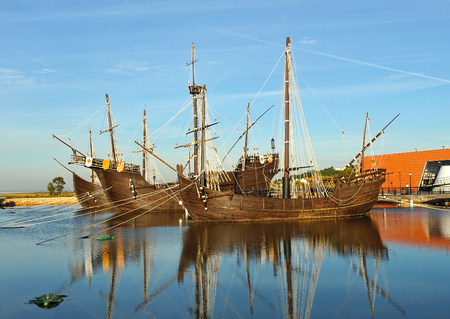 The caravels of Christopher Columbus, Discovering America, Palos de la Frontera, Huelva province, Spain Stock Photo