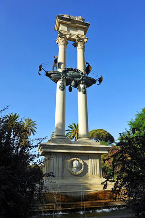 tribute: Memorial tribute to Christopher Columbus, Murillo Gardens, Sevilla, Spain