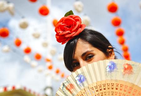 temptress: Spanish woman at the Fair of Seville, Spain