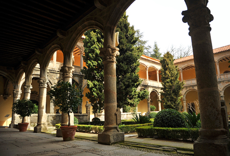 plateresque: The renaissance cloister of the Monastery of Yuste, Retirement of Emperor Charles V, Cuacos de Yuste, Extremadura, Spain