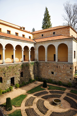 plateresque: Gardens of the Monastery of Yuste, retirement of Emperor Charles V, Cuacos de Yuste, Extremadura, Spain