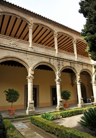 plateresque: Cloister of the Monastery of Yuste, Retirement of Emperor Charles V, Cuacos de Yuste, Extremadura, Spain