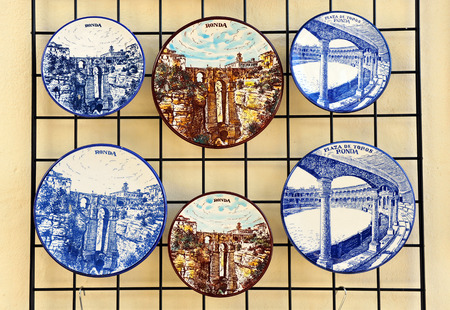 gash: Ceramic dishes with views of Ronda, tourist souvenirs, Malaga Province, Andalusia, Spain