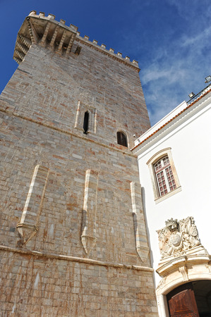 homage: Homage Castle of Estremoz, Homage Tower or Tower of the three crowns, Alentejo, Portugal Editorial