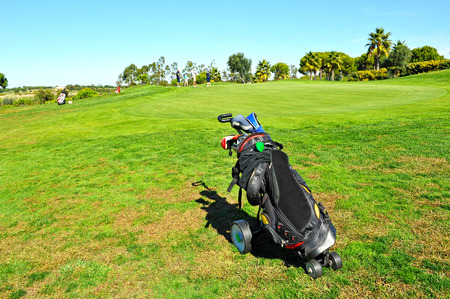golf bag: Golf bag on the golf course, El Rompido, Huelva province, Spain