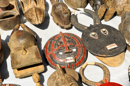 flea market: African masks, the flea market