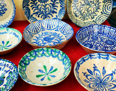 antique dishes: Antique faience dishes, flea market